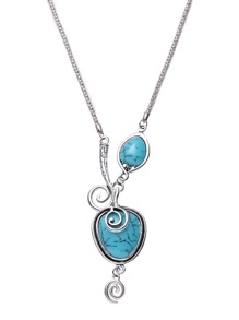 Silver Plated Turquoise Spiral Design Pendant Necklace