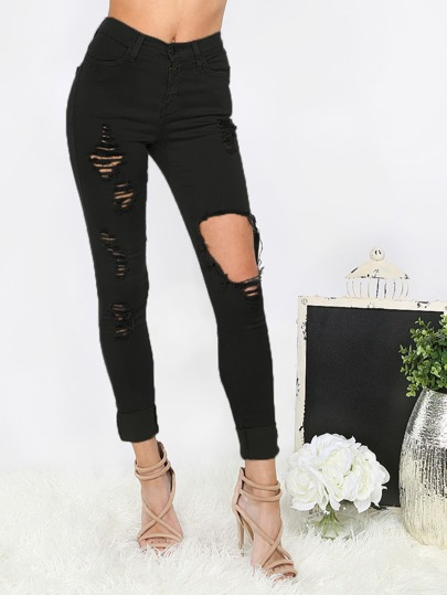 Black Cut Out and Ripped Turn Up Long Pants