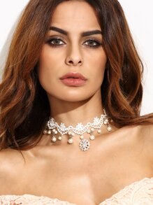 White Faux Pearl Rhinestone Lace Choker Necklace