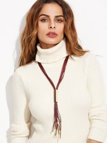 Burgundy Faux Leather Tassel Metal Trim Sweater Necklace