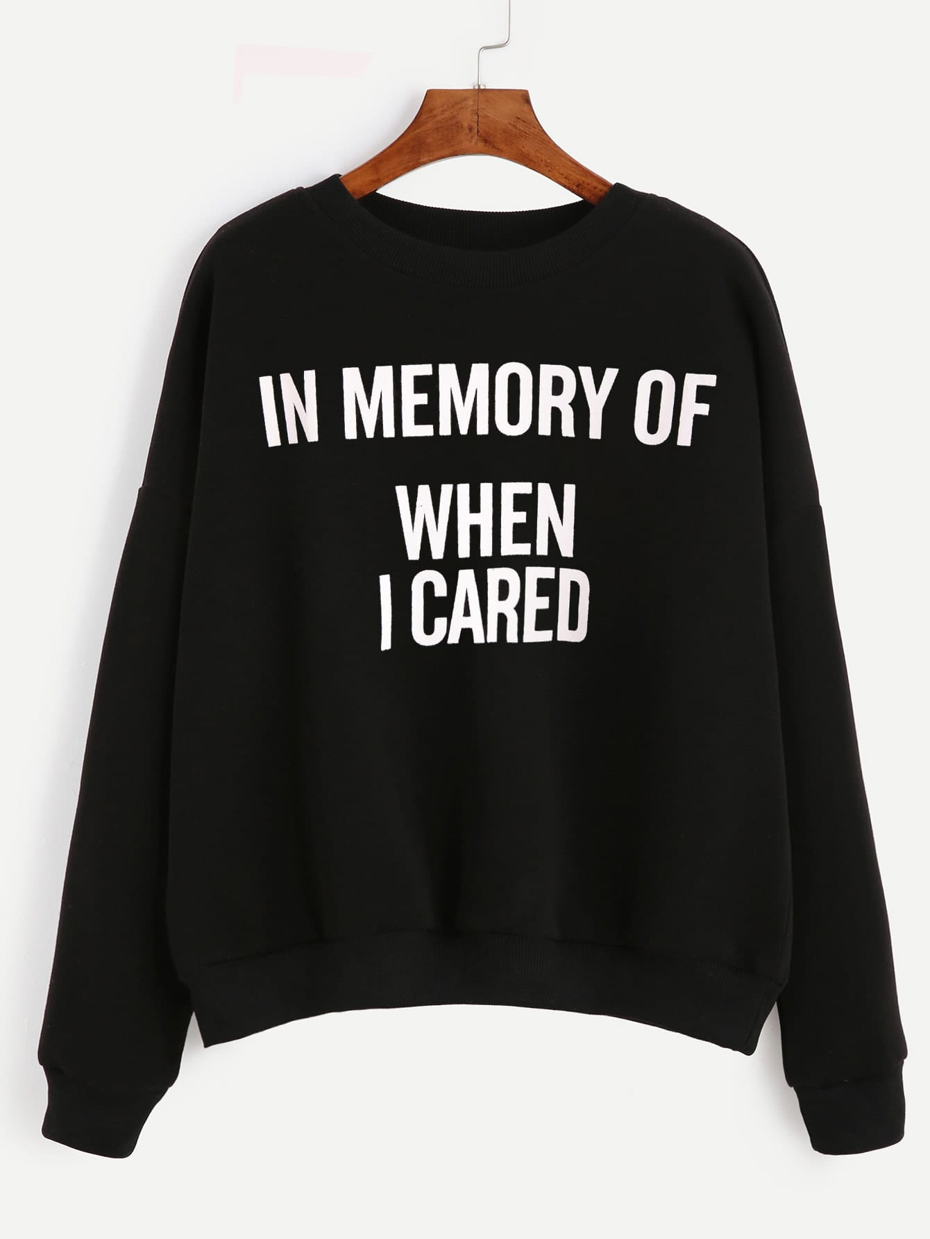 Black Letter Print Drop Shoulder Sweatshirt kids letter print sweatshirt