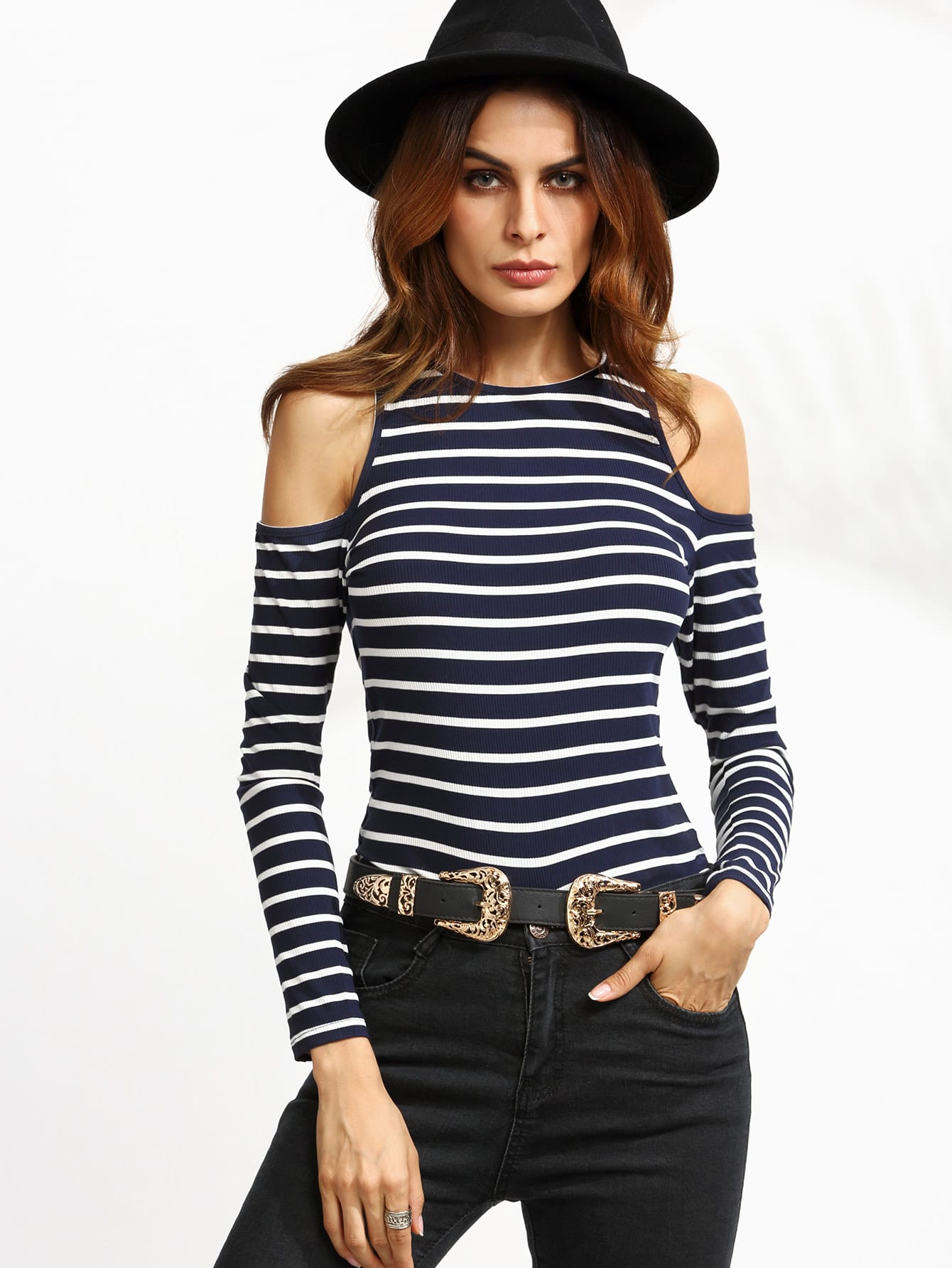 Navy Striped Open Shoulder Ribbed T-shirt tee160829703
