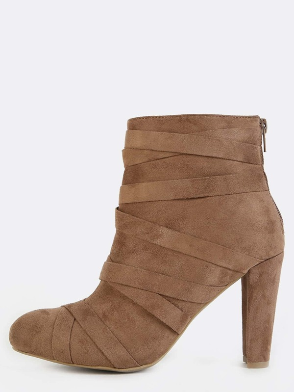 Faux Suede Wrap  Straps Ankle Booties Taupe by Sheinside