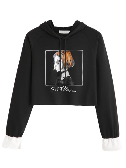 Girl Print Contrast Cuff Crop Hooded Sweatshirt