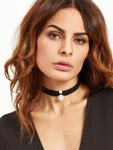Black Ribbon Faux Pearl Choker Necklace