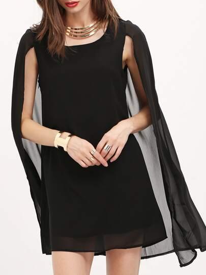 Black Semiformal Round Neck Chiffon Cape Dress