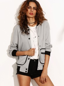 Contrast Trim Binding Pocket Baseball Jacket