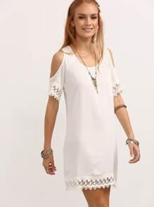 Open Shoulder Lace Up Cut Out Crochet Shift Dress