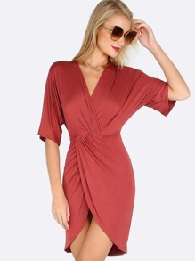 Half Sleeve Wrapped Dress MARSALA