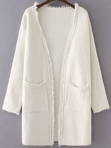 White Collarless Frayed Cardigan With Pockets