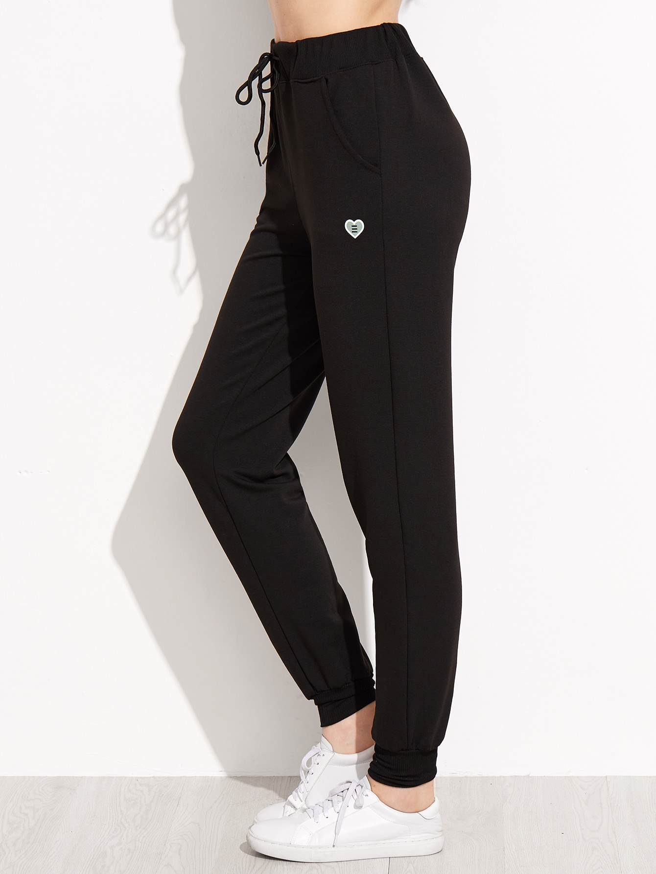 Heart Print Drawstring Waist Peg Pants ruffle waist belted peg pants