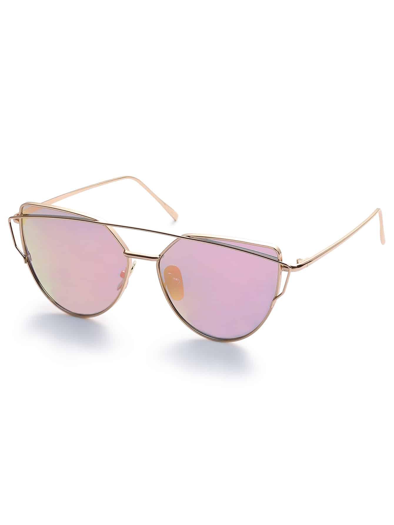 Gold Metal Frame Double Bridge Pink Lens Sunglasses