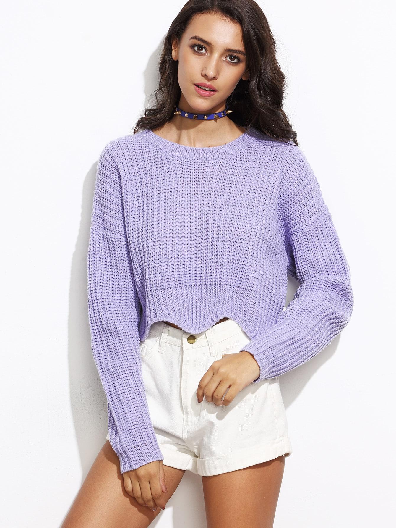 Purple Drop Shoulder Scallop Hem Crop Sweater drop shoulder scallop hem sweatshirt