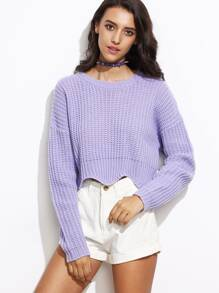 Purple Drop Shoulder Scallop Hem Crop Sweater
