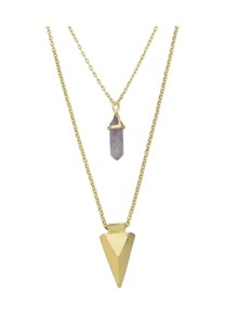 Double Layers Chain Triangle Pendant Necklace