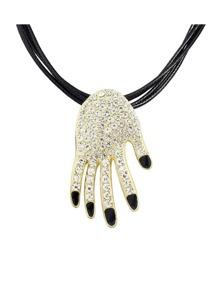 Black Hand Shape Pendant Necklace