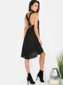 High Neck Bow Dress BLACK