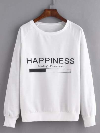 Letter Print Raglan Sleeve Sweatshirt