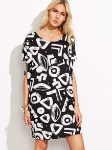 Black Graffiti Print Shift Dress