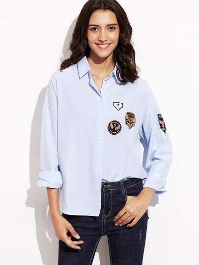 Dolphin Hem Patch Blouse With Buttons
