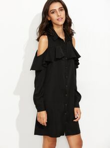Black Cold Shoulder Ruffle Shirt Dress