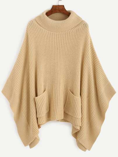 Apricot Turtleneck Dual Pocket Front Poncho Sweater
