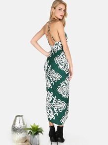 Floral Asymmetrical Cami Dress HUNTER GREEN