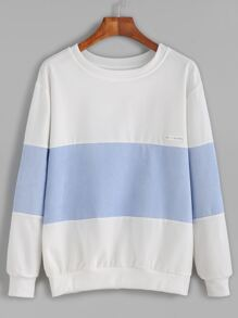 Color Block Letters Patch Sweatshirt