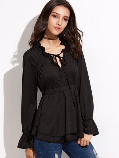 Black Tie Neck Bell Sleeve Tiered Peplum T-shirt