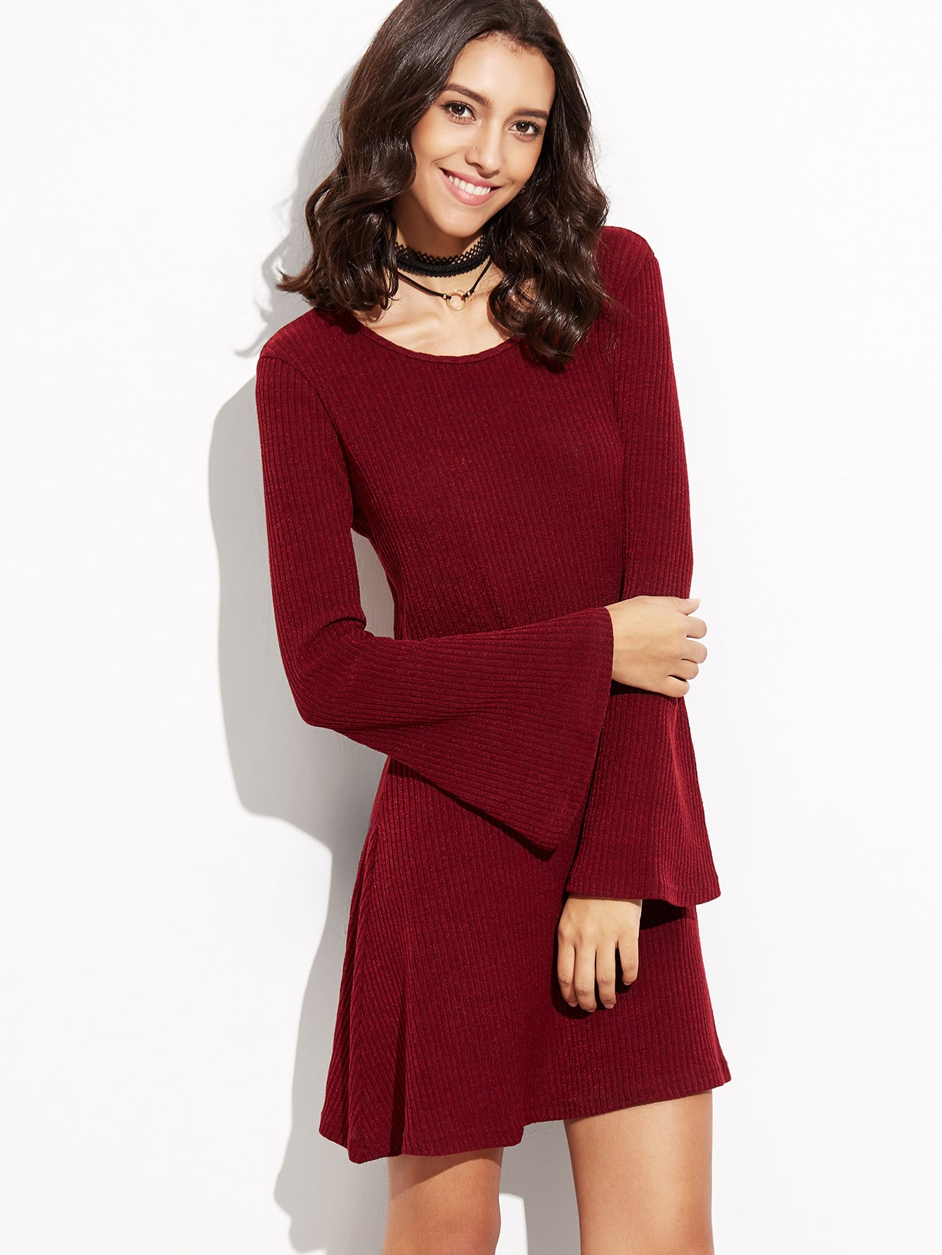 Burgundy Bell Sleeve Ribbed Dress dress160826402