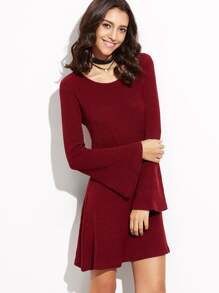 Burgundy Bell Sleeve Ribbed Dress