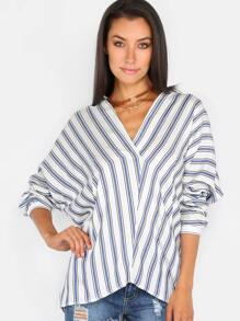 Stripe Asymmetrical Button Blouse MULTI