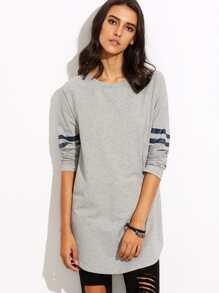 Grey with Navy Stripe Long Sleeve Sweatshirt