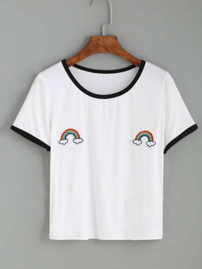 White Contrast Trim Rainbow Patch T-shirt