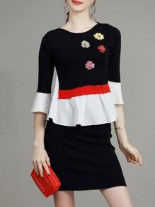 Black Contrast White Ruffle Flowers Applique Top With Skirt