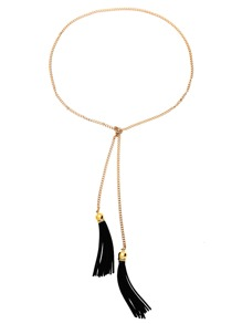 Black Golden Fashion Tassel Necklace