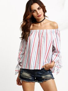 Vertical Striped Off The Shoulder Tie Sleeve Top