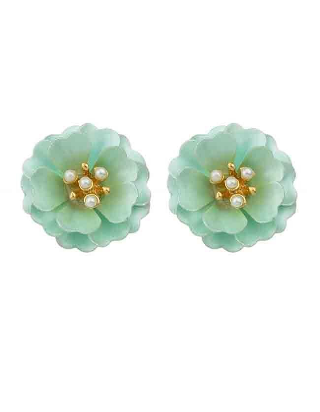 Фото Blue Enamel Pearl Flower Stud Earrings. Купить с доставкой
