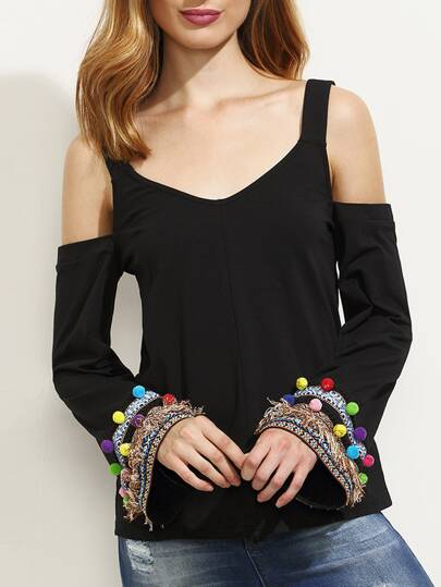 Black Cold Shoulder Pompom Fringe Trim T-shirt
