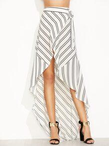 Striped Self Tie Wrap Asymmetrical Skirt