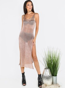Low Back Metallic Slit Dress ROSE GOLD