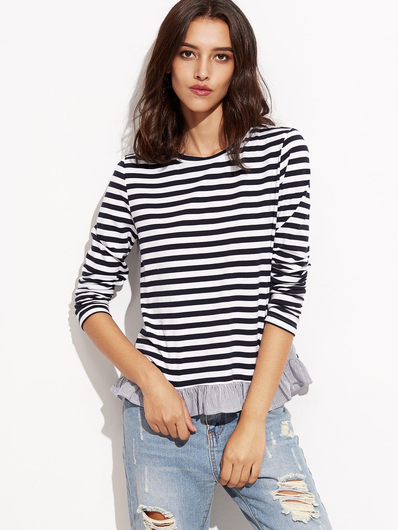 Фото Contrast Striped Ruffle Trim T-shirt. Купить с доставкой