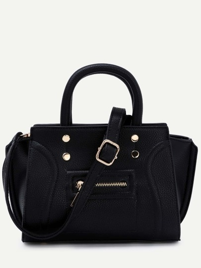 Black Pebbled PU Front Zipper Tote Bag With Strap