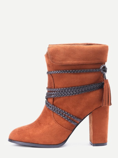 Light Brown Braided Strap Detail Fold Over Boots