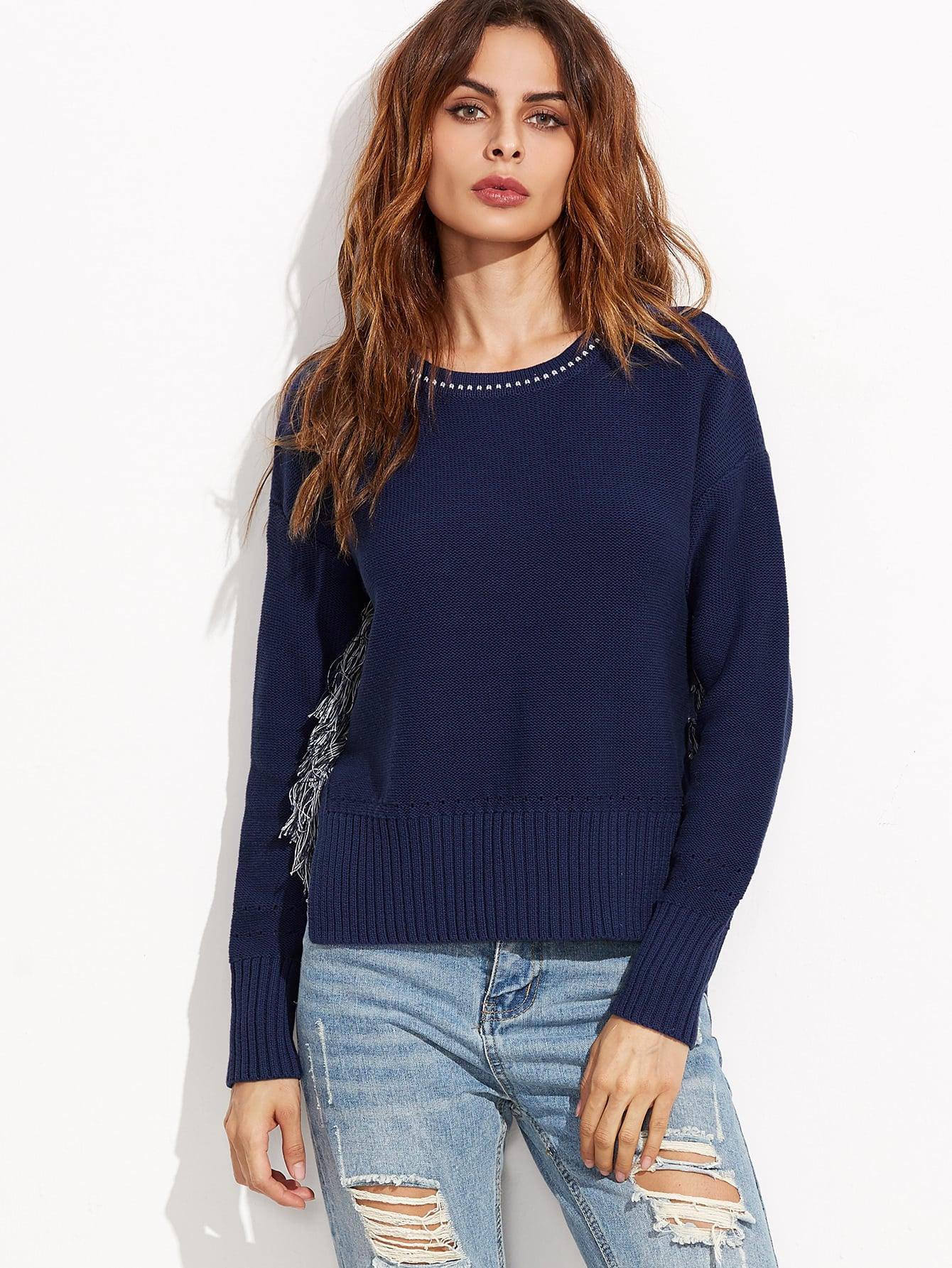 Фото Navy Split Side Dip Hem Sweater. Купить с доставкой