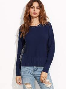 Navy Split Side Dip Hem Sweater