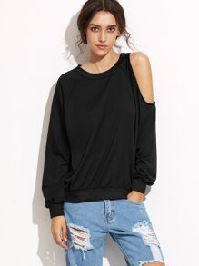 Black Cut Out Sleeve Sweatshirt