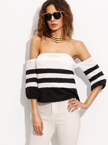 Contrast Striped Off The Shoulder Crop Top