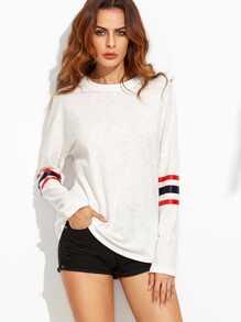 T-shirt col rond manche à rayure - blanc