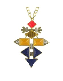 Enamel Geometric Pendant Necklace
